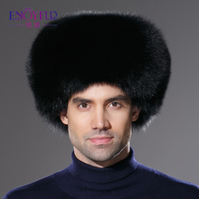 2018 Winter brand new real fox fur hat for men genuine leather cap natural racco