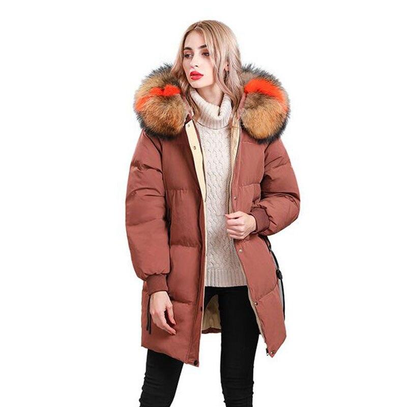Big Real Natural Raccoon Fur 2018 Winter Jacket Women White Duck   Down   Jacket Plus Size Parka Hood Female Jacket Warm Loose   Coat