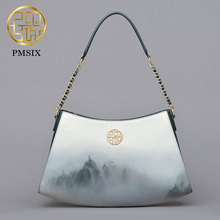 Leisure women's leather handbags beauty landscape printed Pmsix 2017 summer new style fashion shoulder bags white P220080