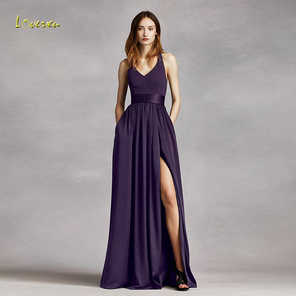 Loverxu Vestido De Festa Longo V Neck Beach   Bridesmaid     Dresses   2018 Sexy Backless Purple Chiffon Wedding Party   Dress   Plus Size