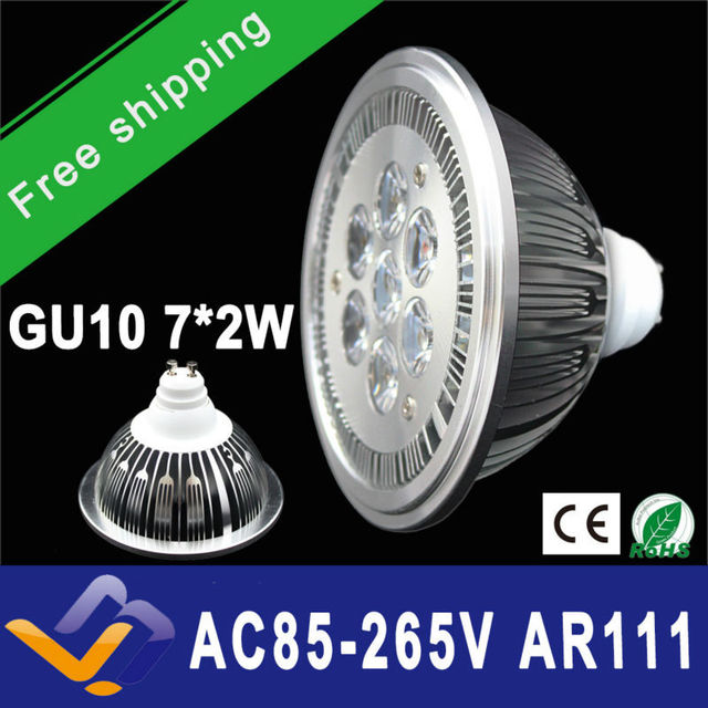 Free Shipping 10pcs/lot  GU10  ES111 QR111 AR111 LED lamp 14W Spotlights Warm White /Nature White/Cool White Input AC 85-265V