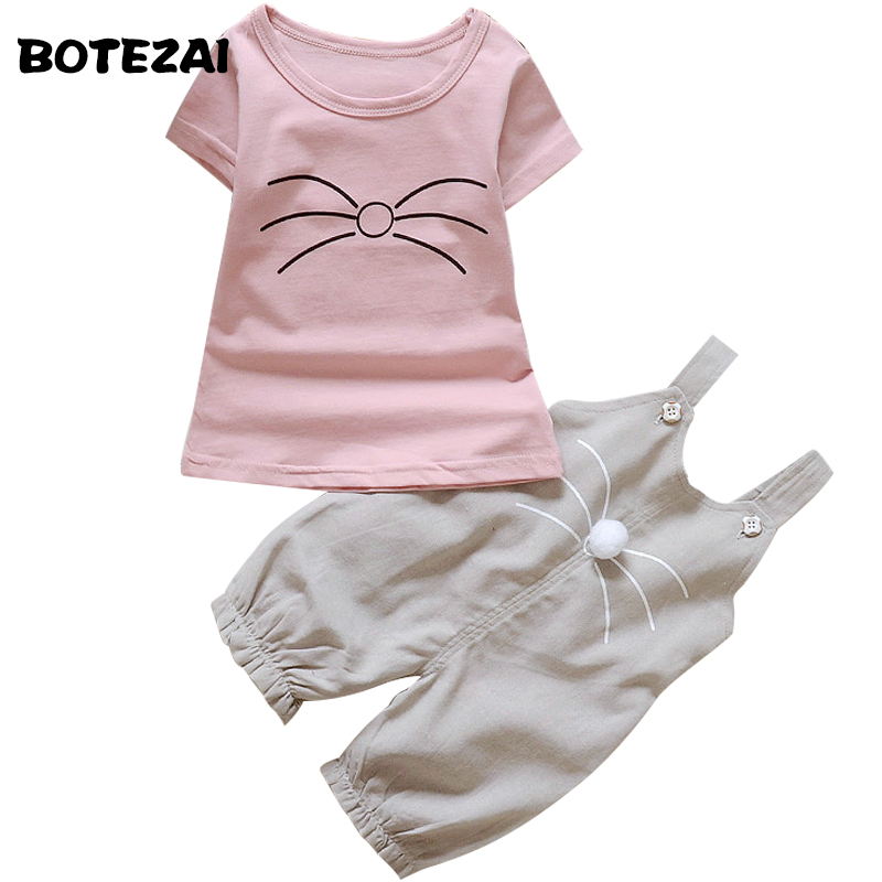 Girls Clothing Sets Baby Girl Cartoon Cat T Shirts Cotton Coat And Overalls Pants Set Children Clothing Sports Suit Kids Clothes 2016 korean style cute girl printed sets children s clothes short t shirts pants 2pcs girls clothing retial 0 4t kids coat