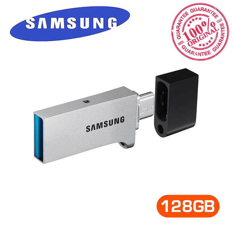 SAMSUNG USB Flash Drive DUO USB3.0 OTG Stick 128GB 150MB/s Flash Disk Mini Pen Drive U Disk For Desktop Laptop Smartphone Tablet original sandisk usb flash drive ultra fit usb3 0 stick 128gb 150mb s u disk mini pen drive high speed sdcz43