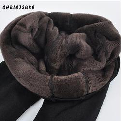 CHRLEISURE теплые женские плюс бархатные зимние леггинсы до щиколотки сохраняющие тепло однотонные брюки с высокой талией Большие размеры