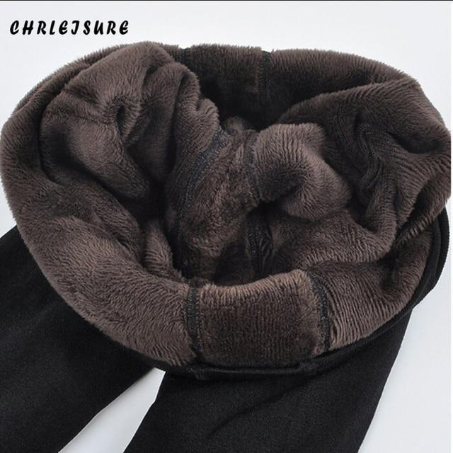 Chrleisure quente feminino mais veludo inverno leggings tornozelo comprimento manter quente sólida calças de cintura alta tamanho grande leggings femininas