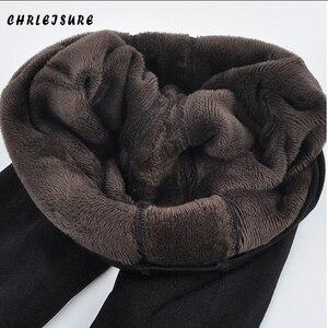 Image 1 - Chrleisure暖かい女性のプラスベルベットの冬コットンレギンスアンクル丈暖かいパンツハイウエスト大サイズの女性レギンス