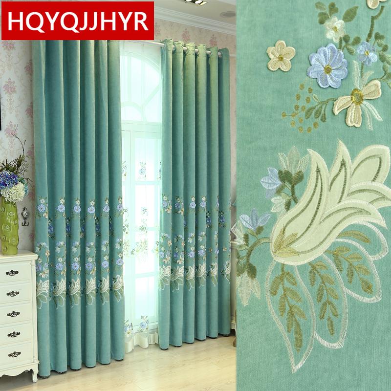Green European Luxury High Quality Cashmere Blackout Curtains For Living Room Modern Classic Villa Curtain For Bedroom Hotel