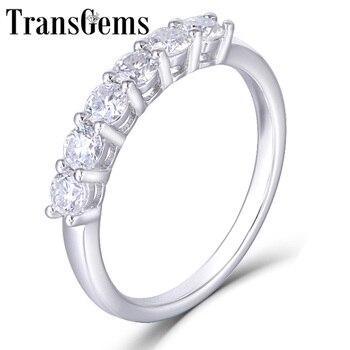 Transgems 14K 585 White Gold 0.6CTW 3mm F Colorless Moissanite Engagement Ring Half Eternity Anniversary Wedding Band Dailywear