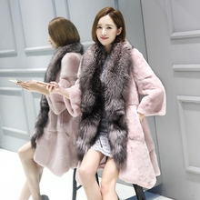 2017 новые модные Роскошные Природные кролика пальто с мехом с большим Silver Fox меховой воротник длинный реального куртка Теплый женский розовый зимняя куртка