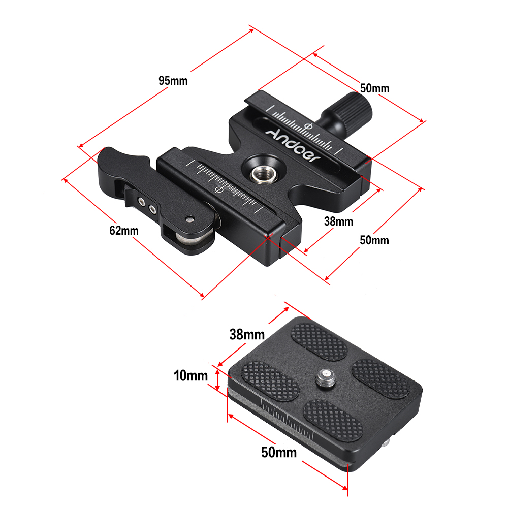 "3Pieces 50mm QR Quick Release Plate 1//4/"" Screw for Arca Swiss Camera Tripod"