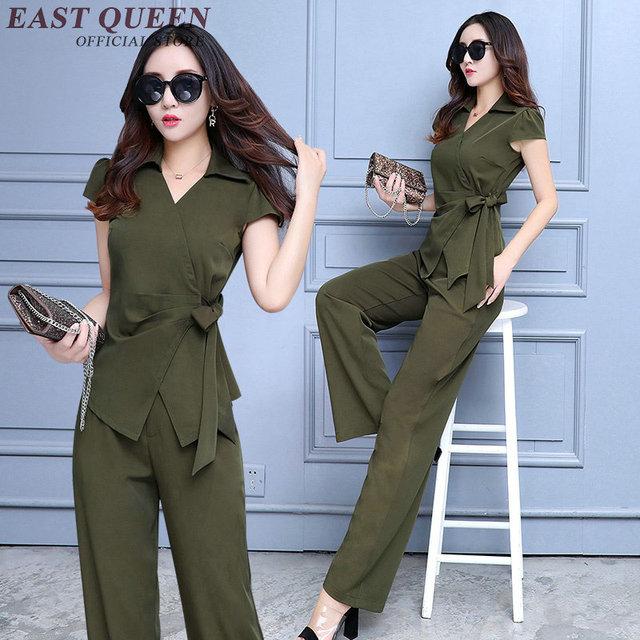 eb6366aa287a0 US $58.3 45% OFF|New Arrival womens business suits solid color two piece  set top and pants elegant pant suits female summer pantsuits NN0602 YQ-in  ...