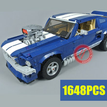 New Blue Racing vehicle Ford Mustang fit technic Building Blocks Bricks Model kits DIY Toys for children Birthday Gift chirstmas цена в Москве и Питере