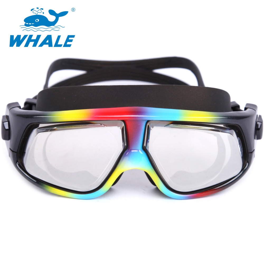 Whale Brand Optical lens swim goggle with UV anti fog swim glasses super big lens have