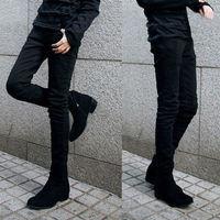 2015 ربيع جديد نمط أسود مرونة الشتاء الجينز الرجال العلامة التجارية الشهيرة مصمم الرجال القطن جينز نحيل