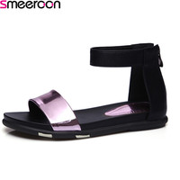 Smeeroon 2018 summer new fashion Size 34 39 shoes flat with buckle sandals neutral purple silver colour women shoes