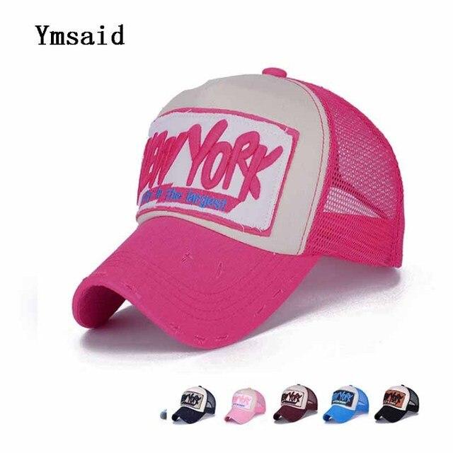 Red Pink NEWYORK Baseball Cap With Mesh Brand Snapback Hat Trucker Cap Men  Women Girls Boys Summer Mesh Cap a365d0761