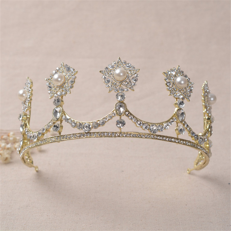 High Quality Bridal Tiaras and Crowns Full Rhinestone Gold Color Star Wedding Hair Crown for Women Hair Jewelry Accessories 00009 red gold bride wedding hair tiaras ancient chinese empress hair piece