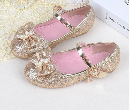 2018 new girls shoes childrens casual princess with flash baby shoes unit pearl leather pink purple gold