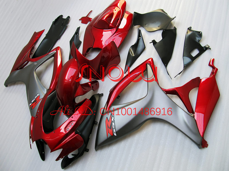 Red/Gray for SUZUKI GSX R600 R750 06-<font><b>07</b></font> <font><b>GSXR</b></font> <font><b>600</b></font> 750 GSXR600 GSXR750 GSX-R600 GSX-R750 K6 06 <font><b>07</b></font> 2006 2007 <font><b>Fairing</b></font> <font><b>Kit</b></font> image