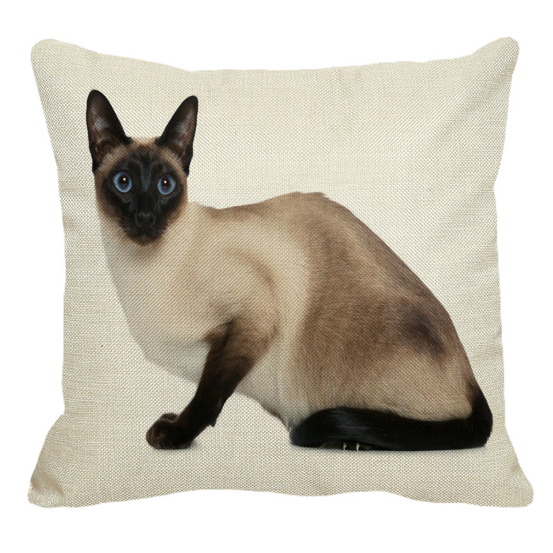 Siamese Cat Linen Decorative Pillow Case