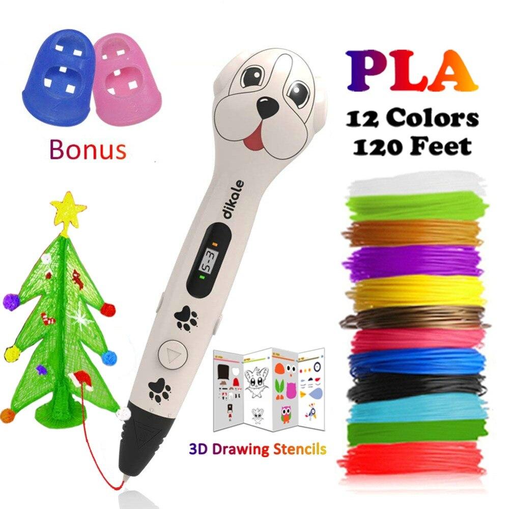 Dikale 3D Printing Pen Cute Dog Impresora 3D Imprimante LCD 3D Pen Printer Pencil Canetas PLA Filament DIY Christmas Hobbies Toy