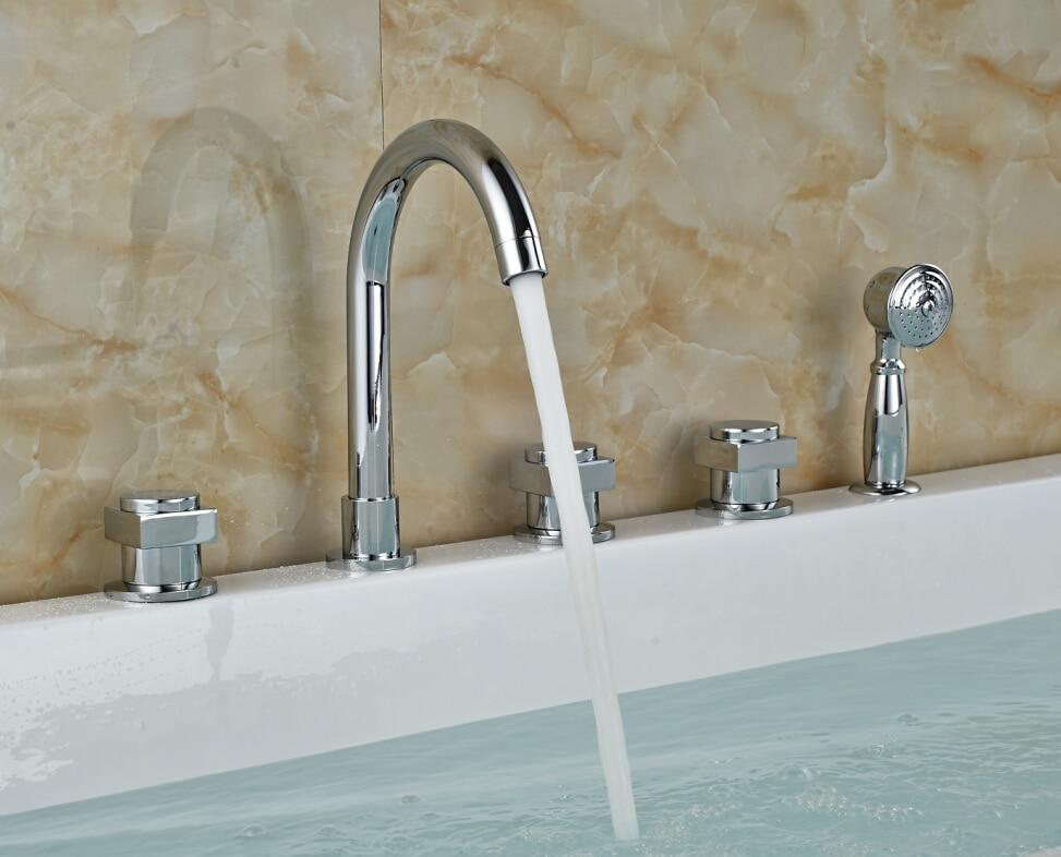Widespread Chrome Brass Bathroom Tub Faucet 5 Holes Sink Mixer Tap W/ Hand Sprayer Deck Mounted widespread chrome brass waterfall spout tub faucet bathroom sink mixer tap diverter w hand sprayer