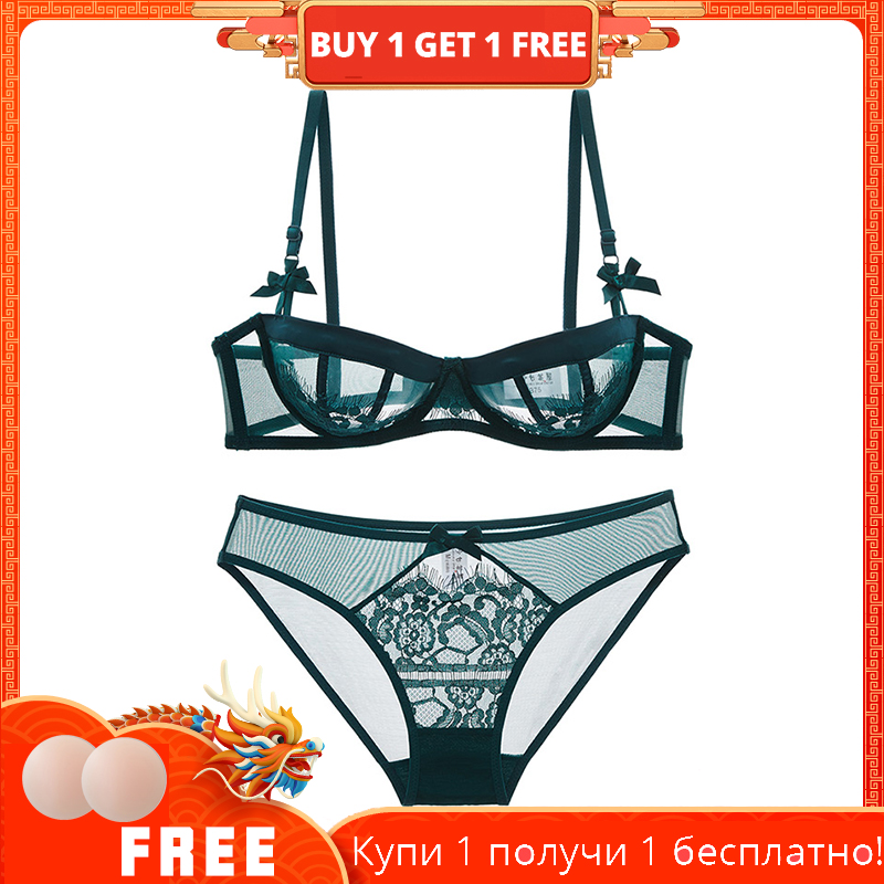 Summer super thin transparent half cup underwear   bra     set   sexy lady lace   bra   dark green thin style