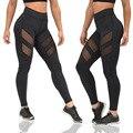 Новые Моды для Женщин спортивные леггинсы плюс размер перспективность лоскутное фитнес леггинсы тонкий черные Брюки Jeggings Леггинсы