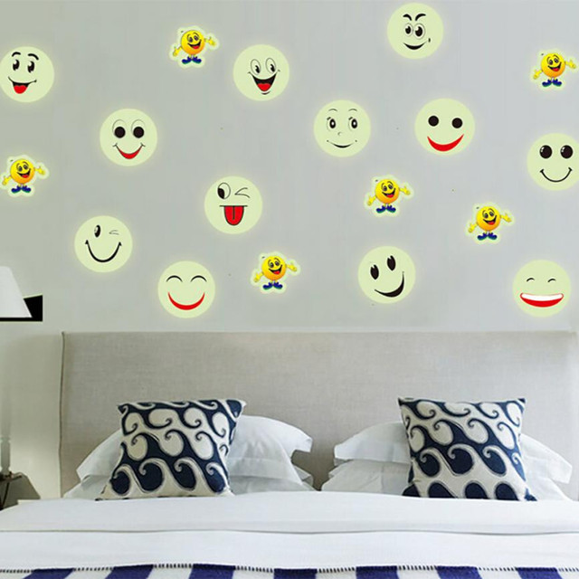 Cute Emoji Smiley Face Luminous Fluorescent PVC Wall Stickers - Emoji wall decals