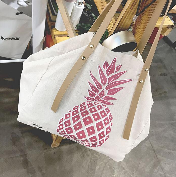 Korean Printing Pineapple Canvas Shoulder Bag Hand Carry Cotton Hemp Big Bag