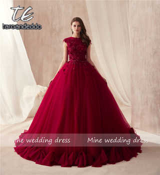 2018 O-neck Ball Gowns Burgundy Wedding Dress with Color 3D Flowers Applique with Rhinestones Crystals Bridal Gowns Reals - DISCOUNT ITEM  12% OFF All Category