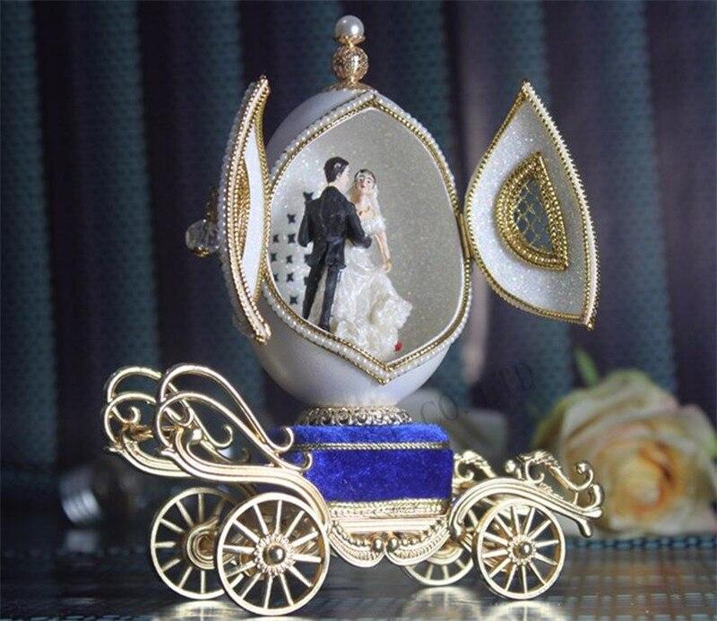 Boîtes à musique de haute qualité de luxe coquille d'oeuf découpant Couple ballerine boîte à musique pour Noble cadeau de mariage amour filles saint-valentin