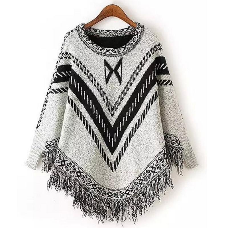 Envío gratis Nueva Moda 2019 Otoño Invierno Mujeres raya Suéteres - Ropa de mujer