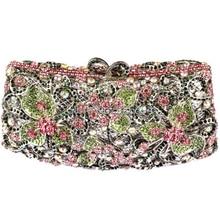 Stereoscopic high fashion vintage diamond Hollow flowers lavish wedding party clutch evening bag ladies handbag free shipping