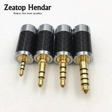 10 Pcs Koperen Non Magnetische 2.5mm/3.5mm/4.4mm 3 4 5 Pole Stereo Jack Carbon fiber DIY Reparatie Oortelefoon Audio Plug Connector