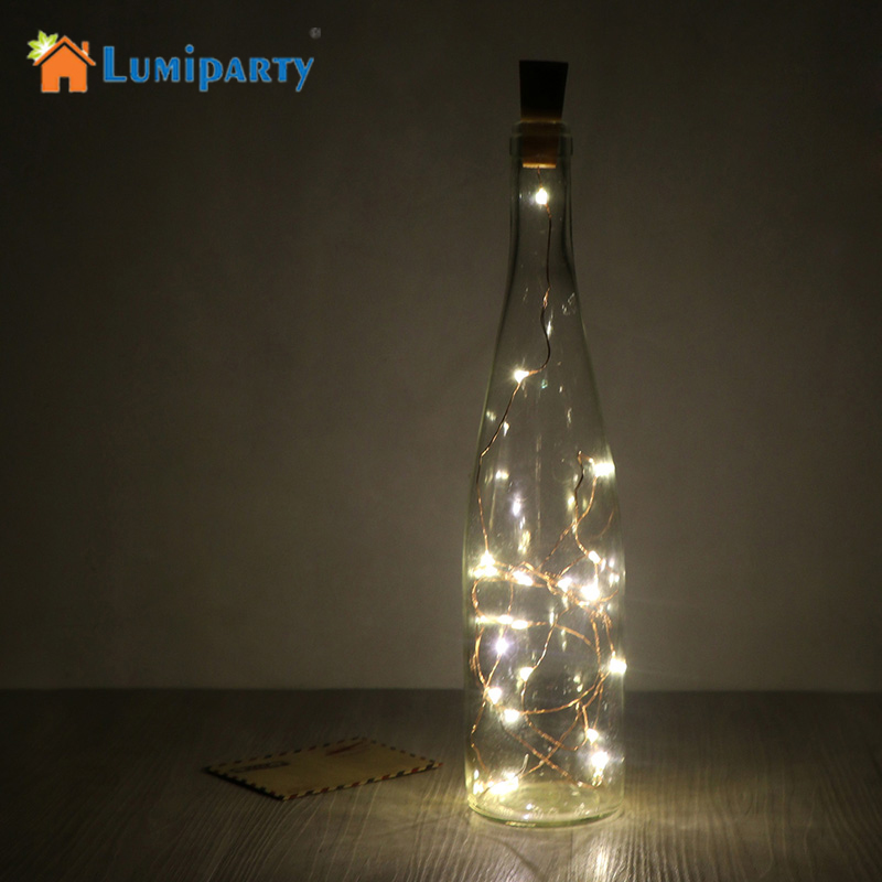 LumiParty Wine Bottle Light Cork Shape Battery Copper Wire String Lights for Bottle DIY,Christmas, Wedding and Party 2M 20LED