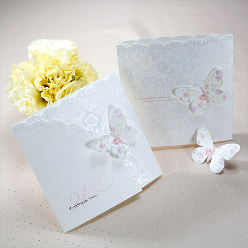 Hot Laser cut White Flowers with Multi Butterfly Wedding Invitation ...