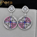 Vintage Big Round Shape Cubic Zirconia Dangle Earrings Women Wedding Party Gift Jewelry Long Drop With Colorful Stone E255