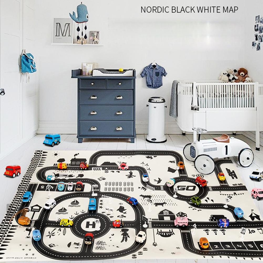 Nordic Style Fashion Foldable Toy Car Scene Map Play Game Mats Baby Kids Crawling Blankets Floor Carpet Children Room Decoration