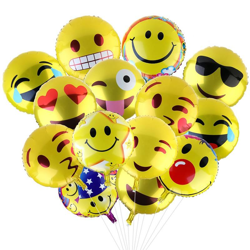 24 PCS Funny Emoji Balloons Round Aluminum Film Balloon Games For Birthday Party Evening Random Color Multi Type
