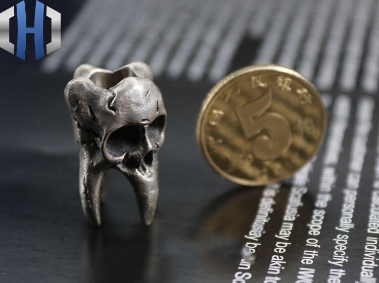 Стерлинговое Серебро 925 пробы, ручная работа, винтажный зуб, парик, Череп, кулон, EDC нож, beadsTool, аксессуары, брелок - 6