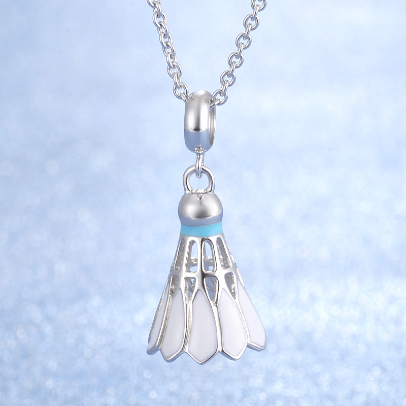 Badminton design fashion jewelry hot sale popular style 925 sterling silver pendant necklace