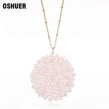 hot deal buy  oshuer 11 colors hand-woven crystal long necklaces pendants fashion women pearl  jewelry statement necklaces&pendants for women