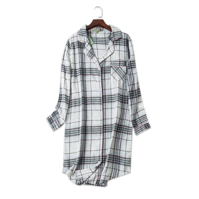9c2f975e36 Best Offers Fashion plaid 100% cotton nightdress women sexy autumn long  sleeves sleepwear women chemise