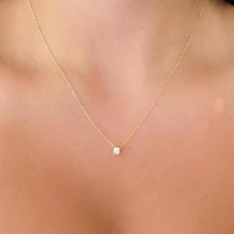 Mengkilap Zircon Tak Terlihat Transparan Tipis Sederhana Kalung Wanita Perhiasan Collana Kolye Bijoux Collares Collier Femme