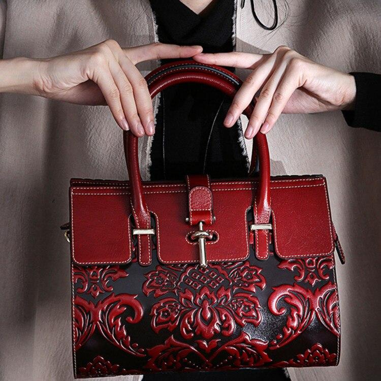 2019 Style chinois Style chinois de luxe sac en cuir femmes sacs à main Vintage décontracté fourre-tout sac célèbre marque épaule sac à bandoulière