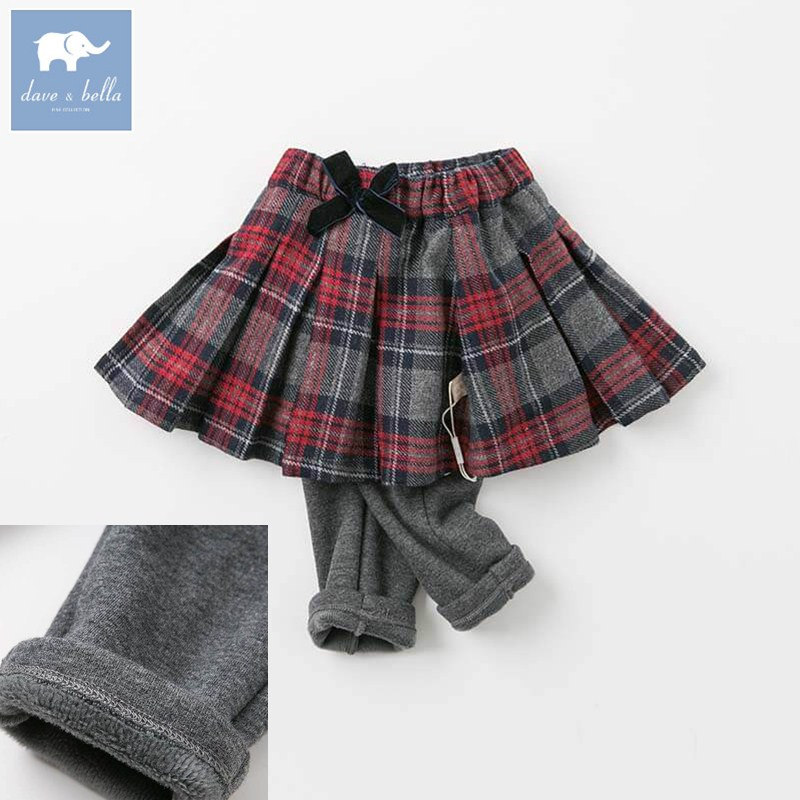 DBZ8410 dave bella winter autumn baby girls with ruffles pants children plaid full length pants infant toddler woolen trousers db5612 dave bella winter baby boys full length kids fashion plaid pants children trousers
