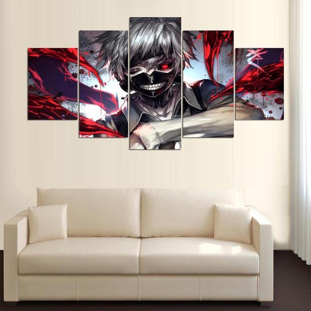 5 Panels Tokyo Ghoul Ken Kaneki Canvas Wall Art