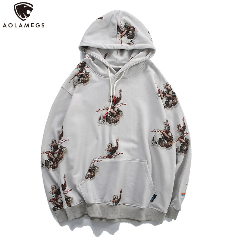 Aolamegs Hoodies Men Painting Printed Hooded Pullover Sweatshirt Men High Street Fashion College Style Streetwear Casual Hoodie