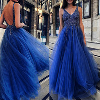 Women's V neck Sequins Backless Dress Tulle Long Gown Cocktail Wedding Party